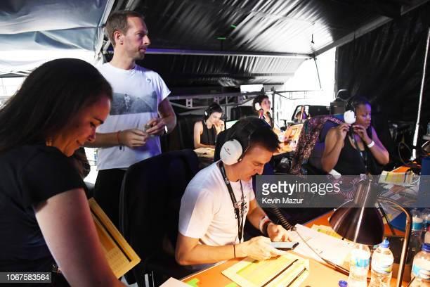 Chris Martin and Hugh Evans CEO of Global Citizen prepare backstage during the Global Citizen Festival Mandela 100 at FNB Stadium on December 2 2018...