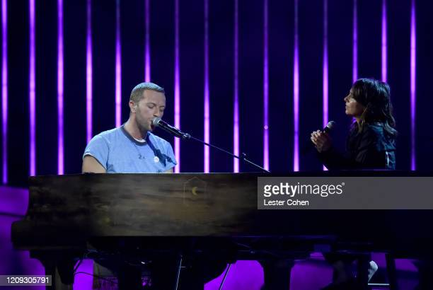 Chris Martin and Susanna Hoffs perform onstage during the 62nd Annual GRAMMY Awards Let's Go Crazy The GRAMMY Salute To Prince on January 28 2020 in...