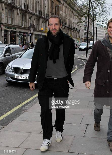 Chris Martin arrives to Radio One for a live performance by Coldplay on December 17 2010 in London England