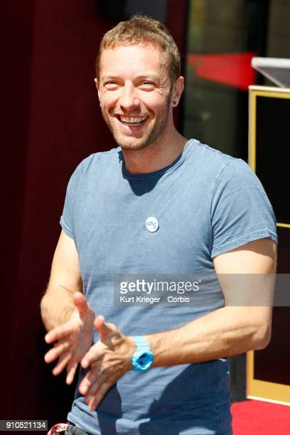 Chris Martin attends a ceremony in which Elvis Duran is honored with the 2603rd star on the Hollywood Walk of Fame on March 2 2017 in Hollywood...