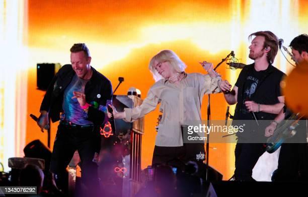 Chris Martin, Billie Eilish, Finneas perform at Global Citizen on September 25, 2021 in New York City.