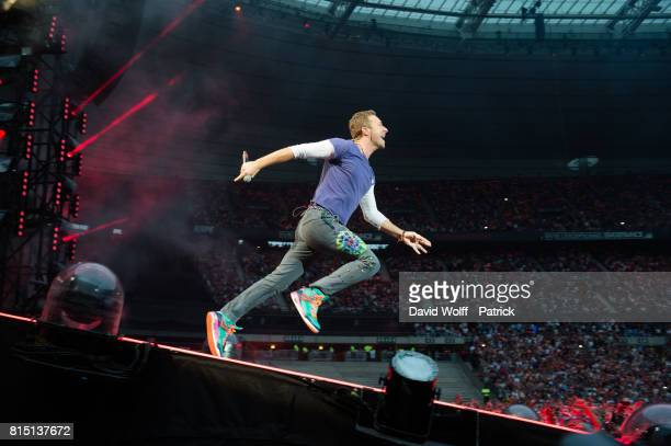 Chris Martin from Coldplay performs at Stade de France on July 15 2017 in Paris France