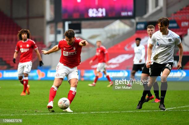 Chris Martin of Bristol City scores their side's second goal during the FA Cup Third Round match between Bristol City and Portsmouth at Ashton Gate...