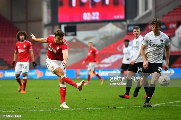 Chris Martin of Bristol City scores their team's second goal during the FA Cup Third Round match between Bristol City and Portsmouth at Ashton Gate...