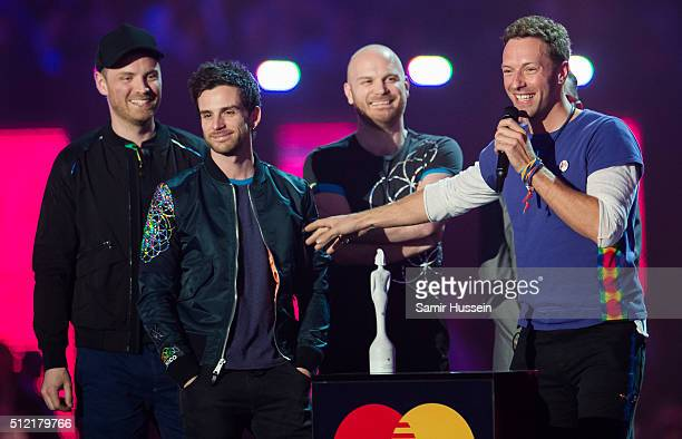 Chris Martin of Coldplay accepts the award for British Group Global Success Award a the BRIT Awards 2016 at The O2 Arena on February 24 2016 in...