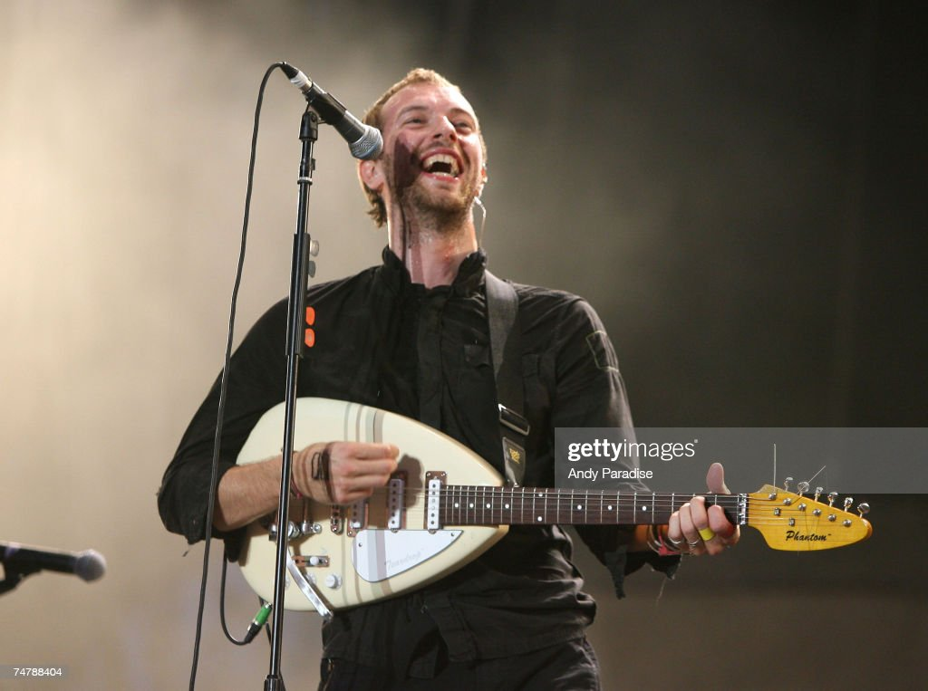 Chris Martin of Coldplay at the Seaclose Park in Newport, United Kingdom.