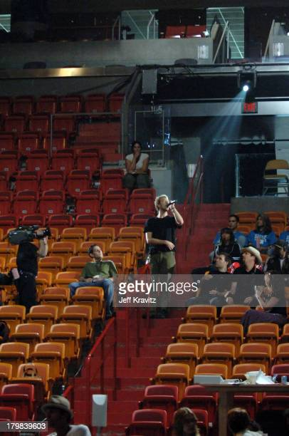 Chris Martin of Coldplay during 2005 MTV VMA Rehearsals Day 2 at American Airlines Arena in Miami Florida United States