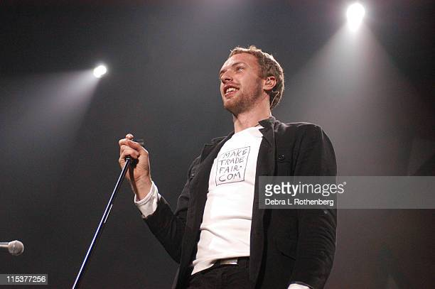 Chris Martin of Coldplay during K Rock Klaus Fest at Nassau Coliseum in Long Island NY United States