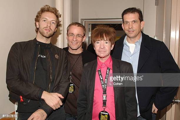 Chris Martin of Coldplay KROQ's Kevin Whetherly Rodney Bingenheimer and Mark DiDia