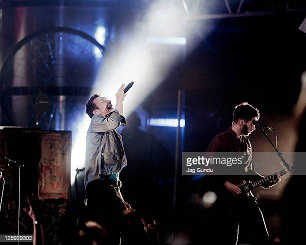 Chris Martin of Coldplay perform Live On The Lot at MuchMusic HQ on September 21 2011 in Toronto Canada