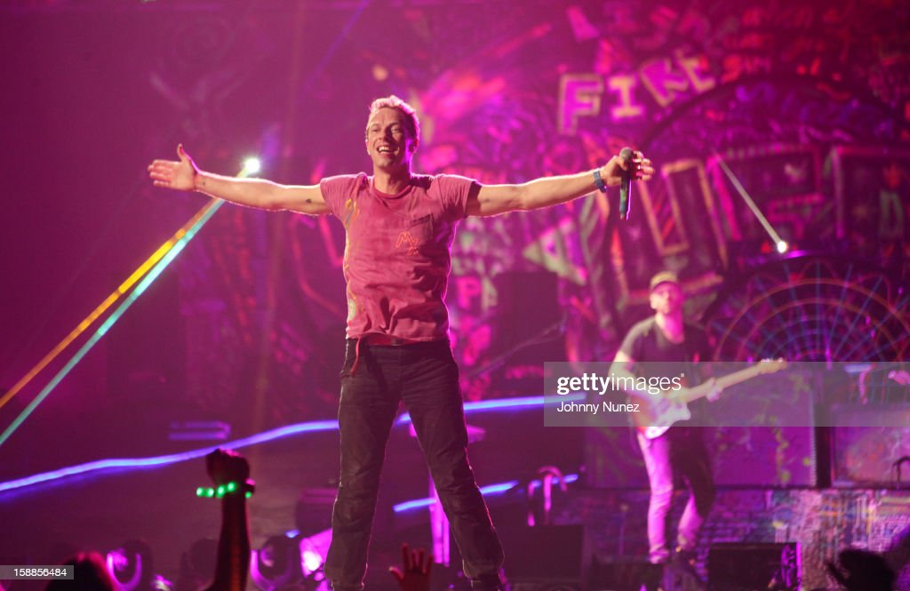Chris Martin of Coldplay performs at Barclays Center on December 31, 2012 in the Brooklyn borough of New York City.