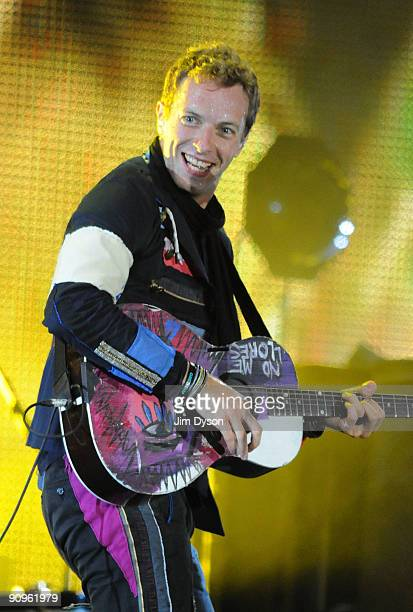 Chris Martin of Coldplay performs at Wembley Stadium on September 18 2009 in London England