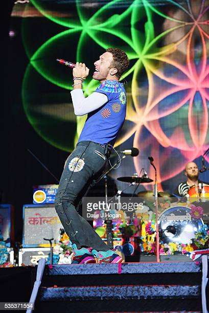 Chris Martin of Coldplay performs during day 2 of BBC Radio 1's Big Weekend at Powderham Castle on May 29 2016 in Exeter England