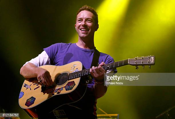Chris Martin of Coldplay performs during Passport To Brits Week at Indigo at The O2 Arena on February 24 2016 in London United Kingdom
