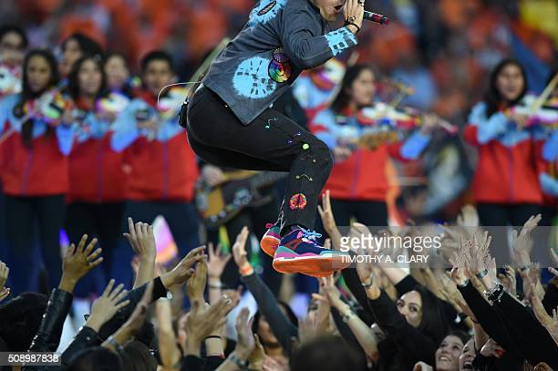 Chris Martin of Coldplay performs during Super Bowl 50 between the Carolina Panthers and the Denver Broncos at Levi's Stadium in Santa Clara...