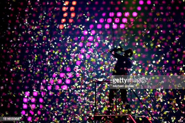 Chris Martin of Coldplay performs during the closing ceremony on day 11 of the London 2012 Paralympic Games at Olympic Stadium on September 9 2012 in...