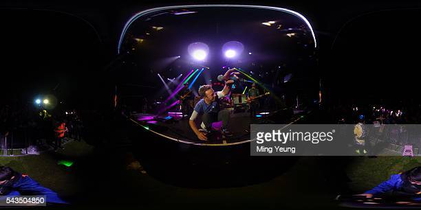 Chris Martin of Coldplay performs during the Sentebale Concert at Kensington Palace on June 28 2016 in London England