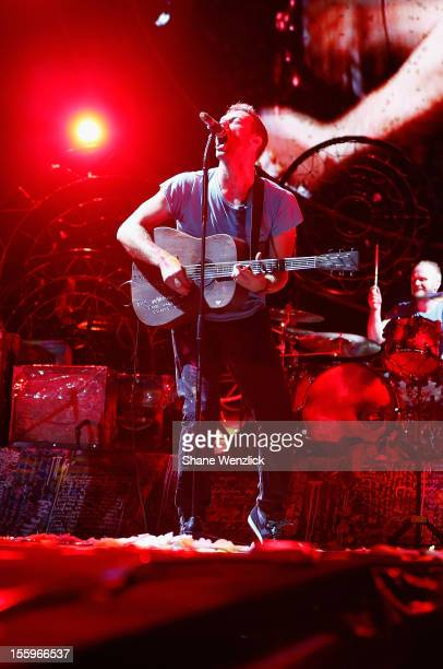 Chris Martin of Coldplay performs for fans on November 10 2012 in Auckland New Zealand