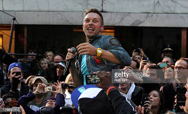 Chris Martin of Coldplay performs on NBC's 'Today' at Rockefeller Center on October 21 2011 in New York City
