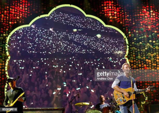 Chris Martin of Coldplay performs on stage at BC Place on September 29 2017 in Vancouver Canada