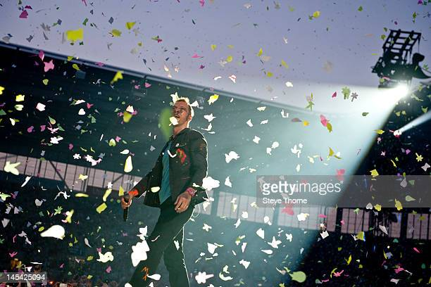 Chris Martin of Coldplay performs on stage at Ricoh Arena on May 29, 2012 in Coventry, United Kingdom.