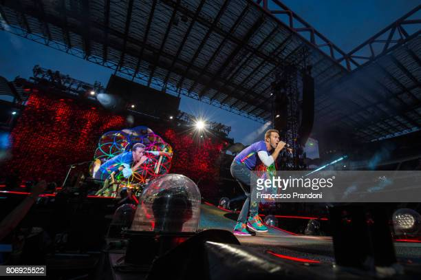 Chris Martin of Coldplay performs on stage at San Siro on July 3 2017 in Milan Italy