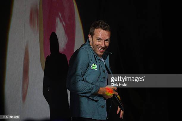 Chris Martin of Coldplay performs on stage on day three of the Splendour in the Grass music festival on July 31 2011 in Woodford Australia