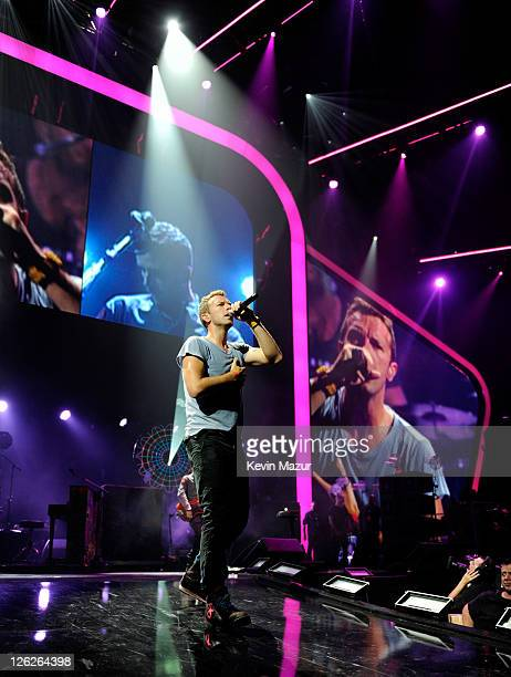 Chris Martin of Coldplay performs onstage at the iHeartRadio Music Festival held at the MGM Grand Garden Arena on September 23, 2011 in Las Vegas,...