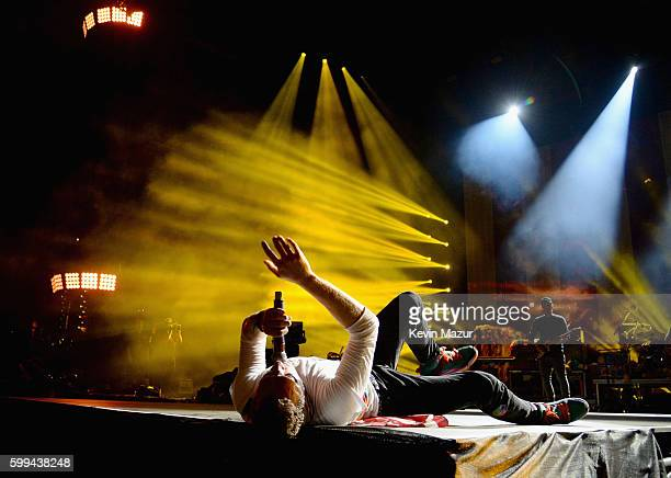 Chris Martin of Coldplay performs onstage during the 2016 Budweiser Made in America Festival at Benjamin Franklin Parkway on September 4 2016 in...