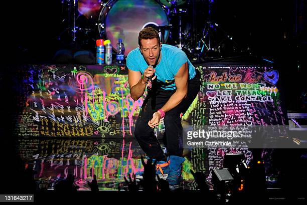 Chris Martin of Coldplay performs onstage during the MTV Europe Music Awards 2011 live show at at the Odyssey Arena on November 6 2011 in Belfast...