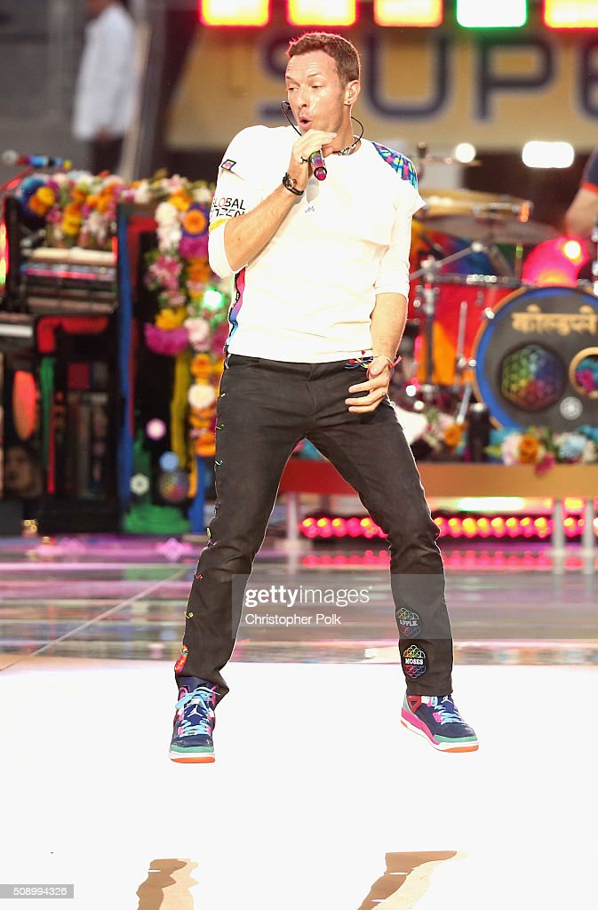 Chris Martin of Coldplay performs onstage during the Pepsi Super Bowl 50 Halftime Show at Levi's Stadium on February 7, 2016 in Santa Clara, California.
