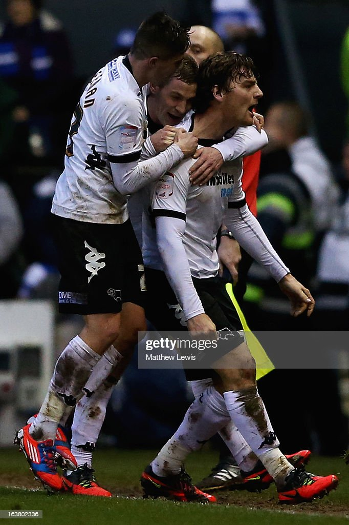 Chris Martin of Derby celebrates his goal with his team mates during the npower Championship match between Derby County and Leicester City at Pride Park Stadium on March 16, 2013 in Derby, England.