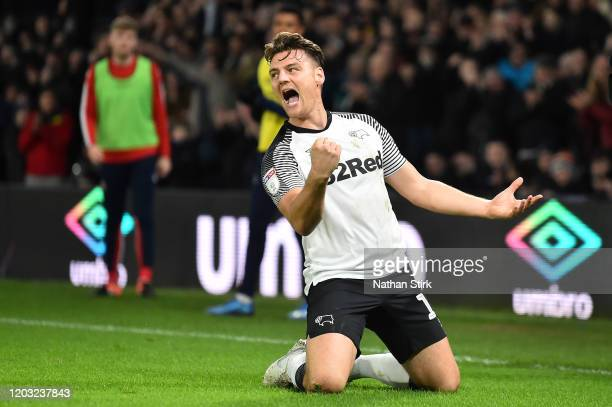Chris Martin of Derby County celebrates after he scores his sides second goal during the Sky Bet Championship match between Derby County and Stoke...