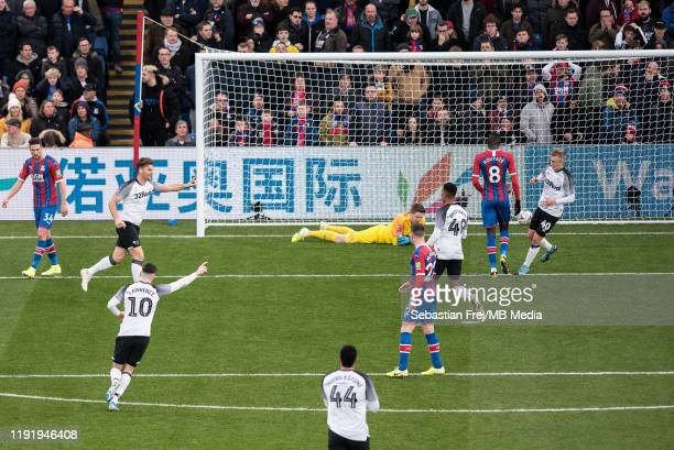 Chris Martin of Derby County celebrates after scoring a goal during the FA Cup Third Round match between between Crystal Palace and Derby County at...
