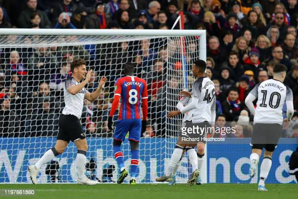Chris Martin of Derby County celebrates after scoring his team's first goal during the FA Cup Third Round match between Crystal Palace and Derby...