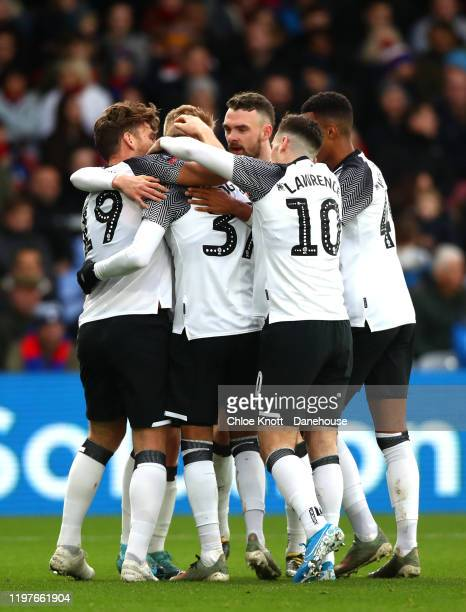 Chris Martin of Derby County celebrates scoring his teams first goal during the FA Cup Third Round match between Crystal Palace and Derby County at...