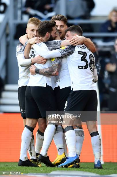 Chris Martin of Derby County celebrates scoring the 2nd Derby goal with team-mates during the Sky Bet Championship match between Derby County and...