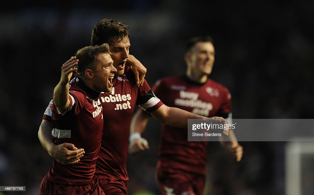 Chris Martin of Derby County (R) celebrates scoring the 2nd goal with Jamie Ward during the Sky Bet Championship Play Off semi final first leg match between Brighton & Hove Albion and Derby County at Amex Stadium on May 8, 2014 in Brighton, England.