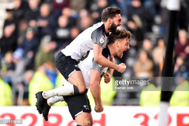 Chris Martin of Derby County celebrates scoring the 3rd Derby goal during the Sky Bet Championship match between Derby County and Blackburn Rovers at...