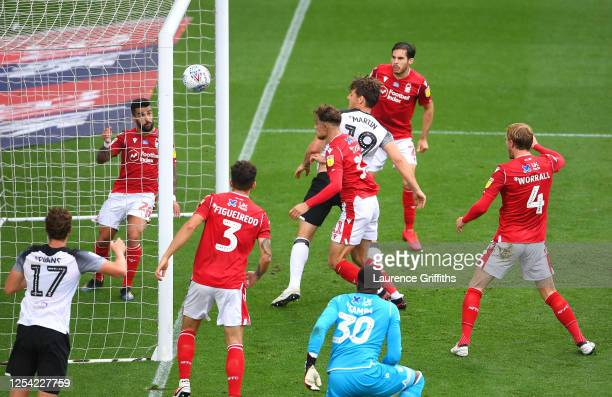 Chris Martin of Derby County scores his sides first goal during the Sky Bet Championship match between Derby County and Nottingham Forest at Pride...