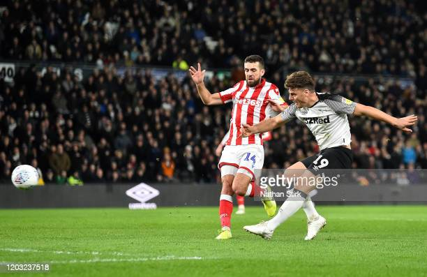 Chris Martin of Derby County scores his sides second goal during the Sky Bet Championship match between Derby County and Stoke City at Pride Park...