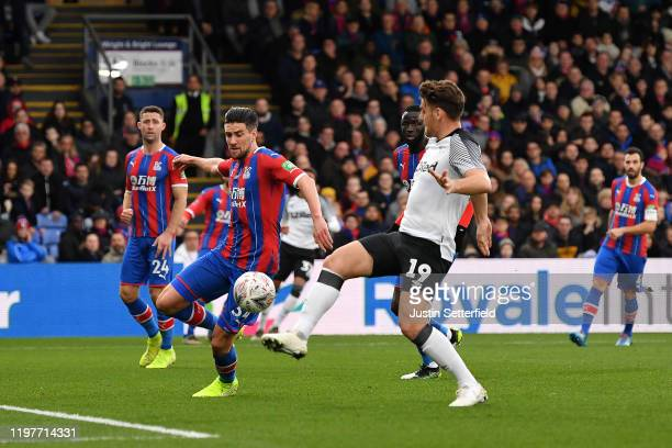 Chris Martin of Derby County scores the 1st goal during the FA Cup Third Round match between Crystal Palace and Derby County at Selhurst Park on...