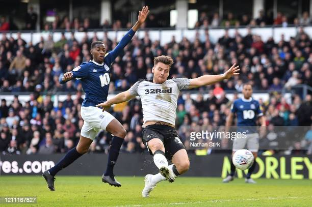 Chris Martin of Derby County scores the 2nd Derby goal during the Sky Bet Championship match between Derby County and Blackburn Rovers at Pride Park...