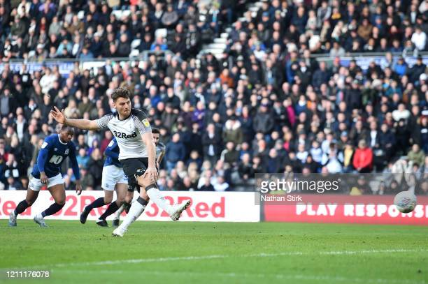 Chris Martin of Derby County scores the 3rd Derby goal during the Sky Bet Championship match between Derby County and Blackburn Rovers at Pride Park...