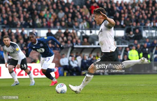 Chris Martin of Derby County scores their third goal from the penalty spot during the Sky Bet Championship match between Derby County and Blackburn...