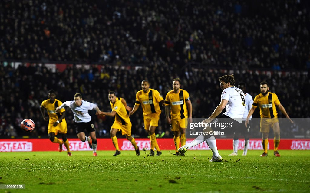 Chris Martin of Derby scores the winning goal from the penalty spot during the FA Cup Third Round match between Derby County and Southport FC at iPro Stadium on January 3, 2015 in Derby, England.