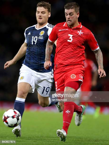 Chris Martin of Scotland and Sam Magri of Malta battle for the ball during the FIFA 2018 World Cup Qualifier between Scotland and Malta at Hampden...
