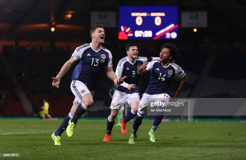 Chris Martin of Scotland celebrates after he scores during the FIFA 2018 World Cup Qualifier between Scotland and Slovenia at Hampden Park on March 26, 2017 in Glasgow, Scotland.