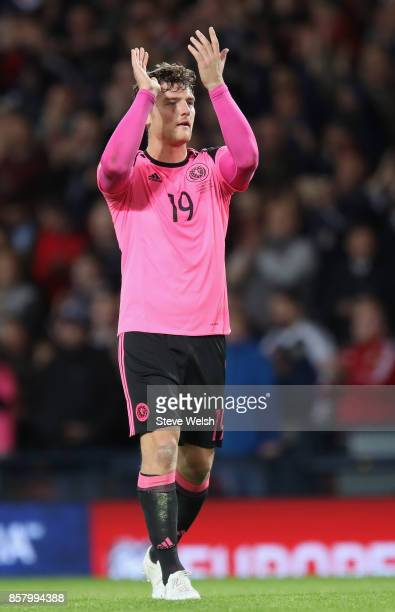 Chris Martin of Scotland celebrates victory after the FIFA 2018 World Cup Group F Qualifier between Scotland and Slovakia at Hampden Park on October...