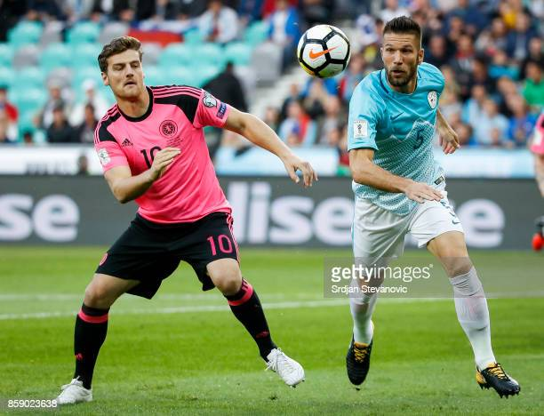 Chris Martin of Scotland competes for the ball against Bostjan Cesar of Slovenia during the FIFA 2018 World Cup Qualifier match between Slovenia and...